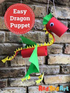 Homemade Puppets, Homemade Dolls, Paper Dragon Craft, Dragon Crafts, Giraffe Crafts, Animal Crafts, Easy Paper Crafts, Cardboard Crafts, Cardboard Tubes