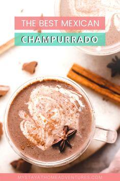 The Best Champurrado Recipe Ever! (Authentic Mexican Hot Chocolate) - Authentic hot chocolate is not like the hot chocolate we know. This Champurrado recipe is the best - Mexican Drinks, Mexican Dishes, Mexican Food Recipes, Dessert Recipes, Thm Recipes, Drink Recipes, Ethnic Recipes, Mexican Champurrado Recipe, Arroz Con Leche