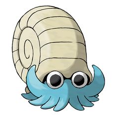 Omanyte - 138 - A prehistoric Pokémon that lived in the primordial sea, it swims by twisting its 10 tentacles about. Revived from an ancient fossil, this Pokémon uses air stored in its shell to sink and rise in water. Pokemon Pokedex, Pokemon Tv, Play Pokemon, Photo Pokémon, Original 151 Pokemon, Water Type Pokemon, Fanart, Shell, Pokemon Pictures