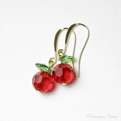 Red Apple Swarovski Crystal Gold Earrings, Fall Earrings, Red Apple Jewelry…