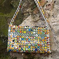 recycled metalized wrapper shoulder bag, confetti from NOVICA