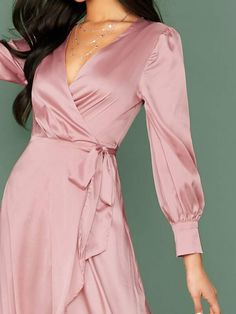 To find out about the Wrap Tie Side Asymmetrical Hem Satin Dress at SHEIN, part of our latest Dresses ready to shop online today! Kebaya Modern Dress, Salwar Suit Neck Designs, Kurti Designs Party Wear, Satin Dresses, Gowns, Dress Suits, Muslim Fashion, Latest Dress, Clothing Patterns