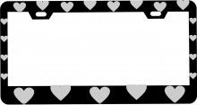 Customized Black Matte Metal License Plate Frame with Hearts Pattern Design