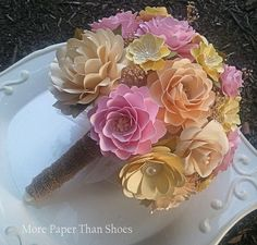 Handmade Paper Flowers - Wedding Bouquet - Pink and Yellow - Country Rustic - Custom Made - Any Color