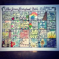 Laminated print of a hand-drawn advent calendar designed to accompany the Jesus Storybook Bible. 9x12