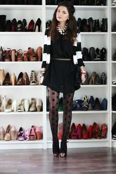 black and white and polka dot tights