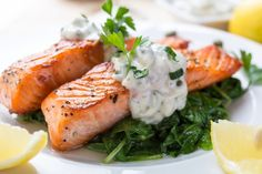 Tender and moist salmon topped with a rich and flavorful tarragon tartar cream sauce.