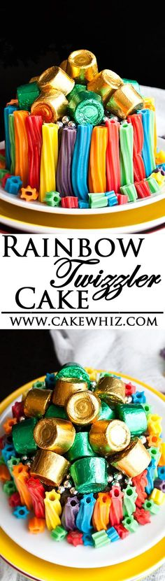 Use this step by step tutorial to make an EASY RAINBOW TWIZZLER CAKE! So much fun to serve at kids rainbow themed birthday parties or even St.Patrick's Day! From cakewhiz.com