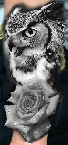 Wolf Tattoos, Lion Tattoo, Animal Tattoos, Body Art Tattoos, Owl Tattoo Design, Tattoo Designs, Day Of Dead Tattoo, Amazing 3d Tattoos, Gear Tattoo