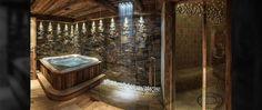 Spa Jacuzzi, Courchevel 1850, 3 D, Bathtub, Bathroom, Image, My Dream House, Homes, Standing Bath