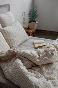 Our off-white with natural linen colour (beige) stripes pure linen duvet cover is made of softened l