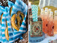 Carnival Themed Party Large Pretzels and Bottled Soda