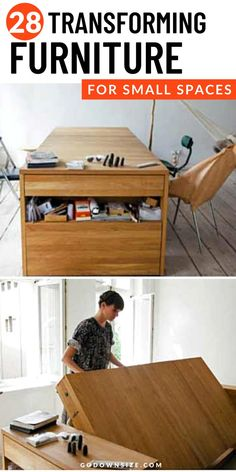 Transforming Furniture is Amazing because you can have several functions within one piece of furniture. Practical for tiny homes and to help organize small spaces. You can keep your small space functional with these awesome transformative furniture pieces! These affordable furniture selections are modern and great for apartment living and RV life. From a bed that second as a table to a picture that can pull out into a table and a cabinet with a foldable bed and more! See the possibilities here! Multipurpose Furniture, Multifunctional Furniture, Affordable Furniture, Diy Furniture, Foldable Bed, Transforming Furniture, Small Space Organization, Guest Bed, Storage Hacks
