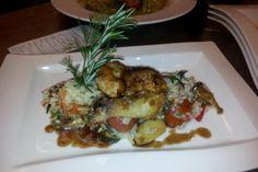 Pechuga de pollo con verduras y risotto