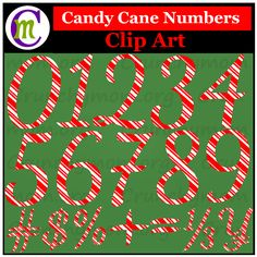 Candy Cane Numbers Clip Art, Spruce up your holiday posters and Christmas products, create holiday classroom decor, print and use for classroom bulletin board ideas, make festive flash cards . . . This Numbers Clip Art set is perfect for adding a bit of festive to anything you'd like.   This Candy Cane Clip Art Set includes each number 0-9 and 24 number-related symbols and fractions (# $ % ( ) { } £ ¥ ¢ + - * x ÷ / = < > ¼ ½ ¾ 1/3 2/3) for a total of 34 images.