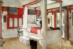 This painting by Carl Larsson, of a bedroom in his house, has always stuck in my mind too, mainly due to the bookshelves over the door.