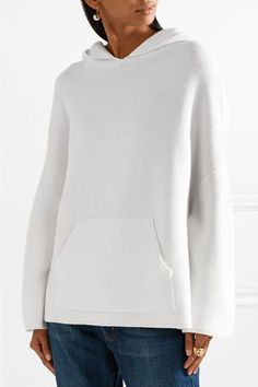Allude - Waffle-knit Wool And Cashmere-blend Hooded Top - Cream