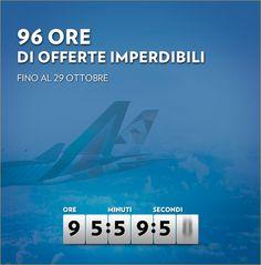 96 ORE DI OFFERTE IMPERDIBILI CON ALITALIA – FINO AL 29 OTTOBRE 2015