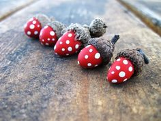 Red Toadstool Acorn Ornaments