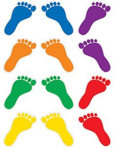 Teacher Created Resources 5367 Footprint Mini Accents 36 pieces per pack colors) Livens up any classroom Shiny, protective coating for durability Gross Motor Activities, Autism Activities, Alphabet Activities, Activities For Kids, Pop Up Flower Cards, Decoration Creche, Teacher Created Resources, Spring Crafts For Kids, Classroom Walls