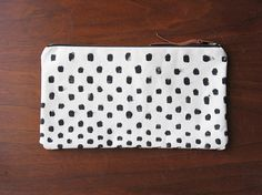 Hand painted Polkadot Canvas Clutch