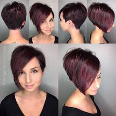 Short bob hairstyles, pretty hairstyles, hair brained, haircut and color, r New Short Hairstyles, Pretty Hairstyles, Hairstyles 2018, Short Haircuts, Asymmetrical Hairstyles, Haircut And Color, Hair Brained, Short Hair Cuts For Women, Dark Short Hair Styles
