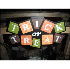 Dollhouse Halloween Trick or Treat Sign Hand Painted Wood Sign Decoration 027043182371 on eBid United States