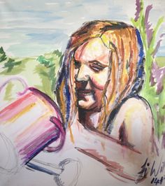 A quick acrylic painting of my eldest daughter in the garden. 14/07/2013 :)