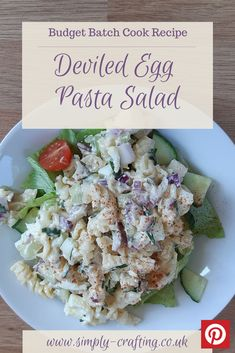 Creamy eggs and mayonnaise with pasta and the sharp tang of onions and celery.  A deliciously different lunch recipe.    This salad recipe makes a big batch that will last for almost a week in the fridge.  #simplycrafting #budgetrecipes #batchcook #healthiereating #mealinspiration #midweekmeals #fiveaday #homemadefoodisthebest #mumscooking #homecooked #summersalad #deviledeggs #eggsalad #pastasalad