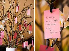 Have your guests follow the Japanese custom by tying their sentiments to tree branches with ribbons.