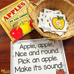 """paired our alphabet sounds activity with Gail Gibbons book about apples! Teaching apples in Sept is my favorite! I'm working on updating our apples science, math, and craft ideas so keep your eyes """"peeled"""" for that! Preschool Apple Theme, Apple Activities, Preschool Literacy, Alphabet Activities, Autism Activities, Sorting Activities, Miss Kindergarten, Kindergarten Activities, Kindergarten Apples"""
