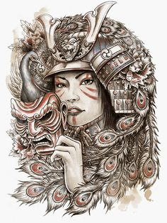 Medusa Tattoo On Full Sleeve Geisha Tattoo For Men, Geisha Tattoo Sleeve, Geisha Tattoo Design, Japanese Tattoos For Men, Japanese Tattoo Designs, Female Samurai Tattoo, Sketchy Tattoo, Demon Tattoo, Medusa Tattoo