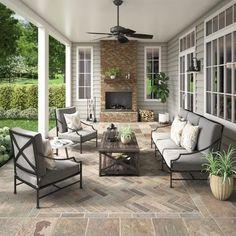 Peacock Natural Decorative Slate Tile - 3 x 9 - 100047786 Porch Flooring, Stone Flooring, Hardwood Floors, Outdoor Rooms, Outdoor Living, Outdoor Kitchens, Patio Tiles, Concrete Patio, Porch Tile