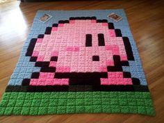 Kirby granny square pixel blanket