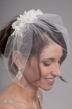 "Bridal Veil Set, Tulle 11"" Birdcage Veil with Lace Head Piece, Wedding Veil and Paige Birdcage Fascinator"