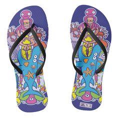 Enjoy a refreshing summer surfing a big wave flip flops | Zazzle.com Funny Doodles, Cool Doodles, Summer Surf, Enjoy Summer, Big Waves, Dog Design, Sea Creatures, Party Hats, Doodle Art