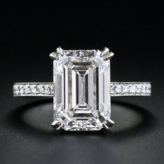 The Cut Of Diamond That Is Totally Trending Right Now - Emerald Cut engagement ring in white gold Emerald Cut Diamond Engagement Ring, Emerald Cut Rings, Engagement Ring Cuts, Emerald Cut Diamonds, Vintage Engagement Rings, White Gold Diamonds, Diamond Rings, Diamond Cuts, Solitaire Rings