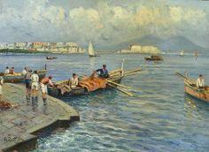 Attilio Pratella (1856-1949) - Pescatori sul molo