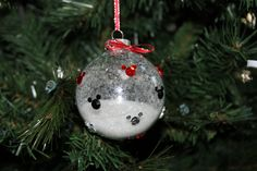 Avery's Mickey Mouse Ornament - Mickey Mouse Stickers, Glitter and Ribbon #mickey #ornament #Christmas