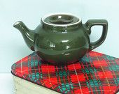 Hall China Pottery Teapot in Avocado Green with a White Interior and Flat Lid, Individual Size Restaurant Ware