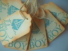 Vintage Baby Shower Favor Tags  !! Could make some for boy and some for girl and have guests guess the sex, weight, size, day, time, etc. on cards to keep as momentos