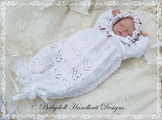 Lacy Bunting & Bonnet 9-14 inch doll/preemie baby-bunting, knitting pattern, reborn, premature baby
