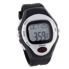 BestOfferBuy Reloj Deportivo Unisex Digital Silicona Sensor Pulso Ritmo Cardiaco Plateado