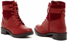 Women's Bucco Capensis Oskar Red Leather/Suede Lace-Up Zip Boot 7.5M MSRP $90.00 #BuccoCapensis #Booties #Casual