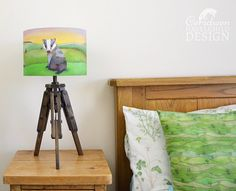 Badger Fabric Lampshade Illustrated Lamp Shade Badger Gift Ceiling Lampshade Lampshade for Floor Lamps Childrens Lampshade by ceridwenDESIGNby Ceridwen Hazelchild Design