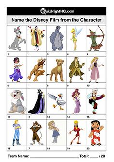 The characters are well-known . but in which Disney classics did they appear? Trivia that crosses generations of Disney's beloved films. Disney Quiz, Disney Films, Disney Characters, Trivia Questions And Answers, This Or That Questions, Little Miss Characters, Film Quiz, World Quiz, Mr Men Little Miss