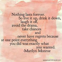 Nothing lasts forever live a life without regrets A quote by Marilyn Monroe Regret Quotes, True Quotes, Words Quotes, Motivational Quotes, Funny Quotes, Inspirational Quotes, Quotes Quotes, Faith Quotes, Pink Quotes