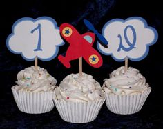Airplane  Cupcake Toppers  Flying High by APaperPlayground on Etsy, $10.00