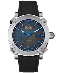 Bulova AccuSwiss Men's Automatic Percheron Treble Black Silicone Rubber Strap Watch 43mm 63B189 - Manchester United Edition