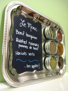 Kitchen Chalkboard Magnetic Spice Rack  Foodie by saltandginger, $39.00
